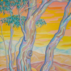 (CreativeWork) POLYCHROME EUCALYPTI 9 by Saadah Kent. arcylic-painting. Shop online at Bluethumb.