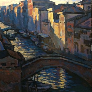 (CreativeWork) Venice IV by Fangmin Wu. arcylic-painting. Shop online at Bluethumb.