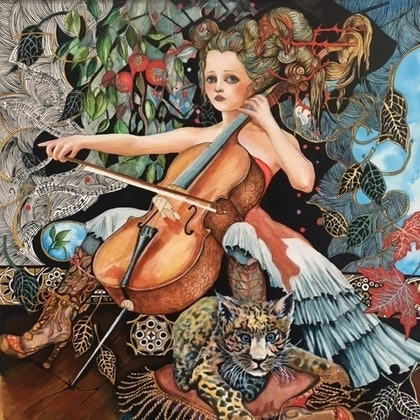 """(CreativeWork) """"Remembering Jacqueline du Pre"""" by Annette Golden. arcylic-painting. Shop online at Bluethumb."""