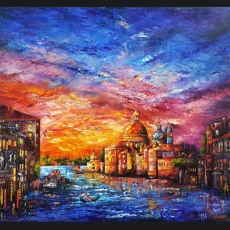 (CreativeWork) GRAND CANAL by Mahyat Tehrany. Oil Paint. Shop online at Bluethumb.