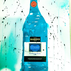 (CreativeWork) Hardys Sauvignon Blanc II by Leith Kennedy. mixed-media. Shop online at Bluethumb.