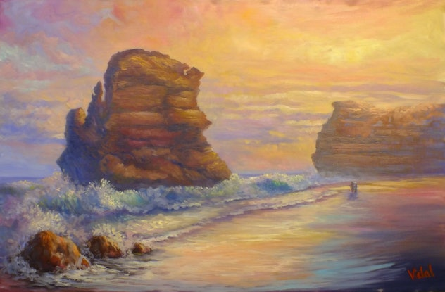 (CreativeWork) Original Oil on Belgian linen of Twelve apostles in Victoria by Christopher Vidal. #<Filter:0x00007f443848d6f8>. Shop online at Bluethumb.