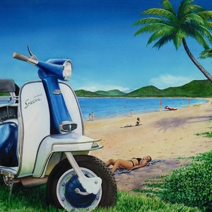 (CreativeWork) Scooter goes to Palm Cove by Mark Burton. watercolour. Shop online at Bluethumb.