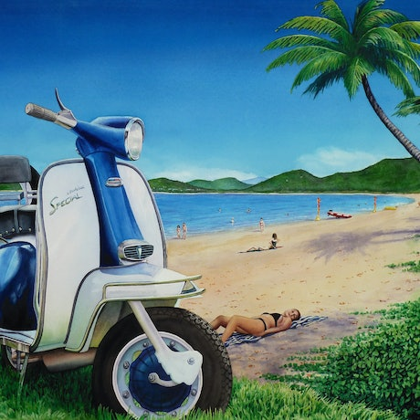 (CreativeWork) Scooter goes to Palm Cove by Mark Burton. Watercolour Paint. Shop online at Bluethumb.