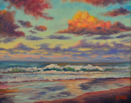 (CreativeWork) Sunset Coolum Beach Sunshine Coast QLD by Christopher Vidal. Oil Paint. Shop online at Bluethumb.