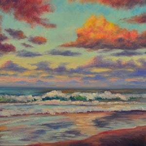 (CreativeWork) Sunset Coolum Beach Sunshine Coast QLD by Christopher Vidal. oil-painting. Shop online at Bluethumb.
