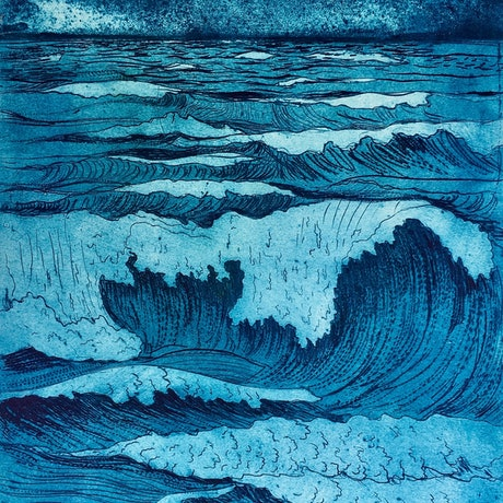 (CreativeWork) Full Moon Waves by Jet James. Other Media. Shop online at Bluethumb.