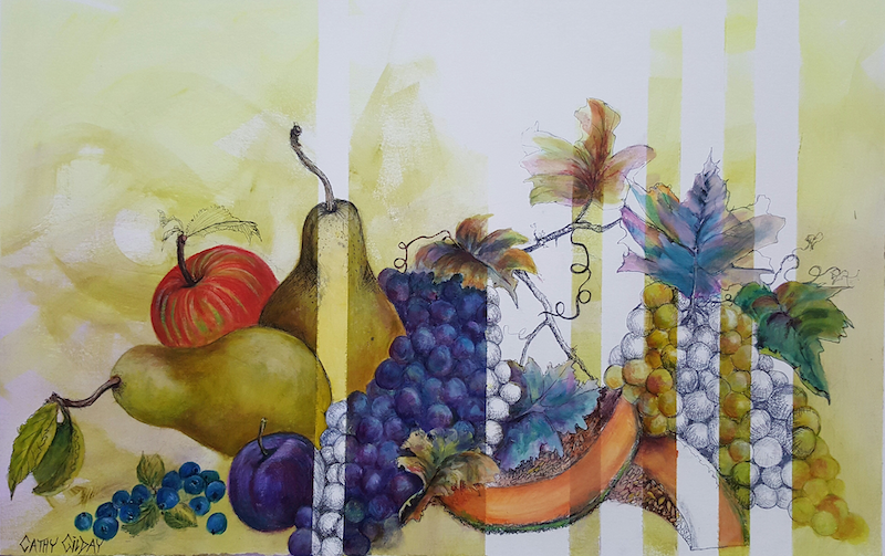 (CreativeWork) Fruit & Stripes  by Cathy Gilday. mixed-media. Shop online at Bluethumb.