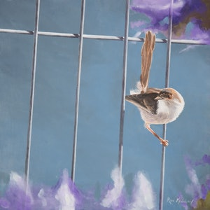 (CreativeWork) Bird on a Wire by Rob Kennedy. oil-painting. Shop online at Bluethumb.