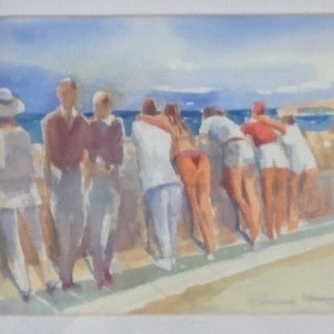 (CreativeWork) Coogee lookout by Gennady Veremeenko. watercolour. Shop online at Bluethumb.