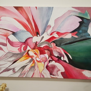 (CreativeWork) Peony Soul by Elle Lyon. arcylic-painting. Shop online at Bluethumb.