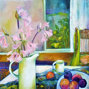 (CreativeWork) Still Life with Bella Donnas by Patricia Walsh. oil-painting. Shop online at Bluethumb.