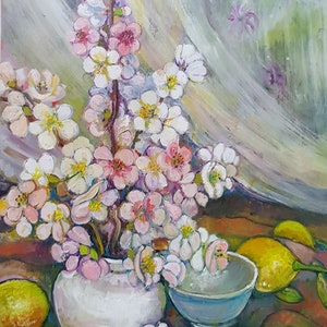 (CreativeWork) Japonica and Lemons by Patricia Walsh. oil-painting. Shop online at Bluethumb.