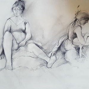 (CreativeWork) Two Female Figures by Patricia Walsh. drawing. Shop online at Bluethumb.