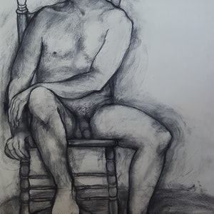 (CreativeWork) Male Nude by Patricia Walsh. drawing. Shop online at Bluethumb.