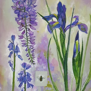 (CreativeWork) Iris and Wisteria by Patricia Walsh. watercolour. Shop online at Bluethumb.