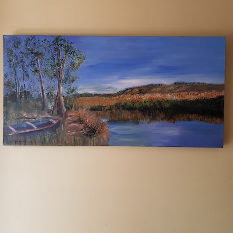 (CreativeWork) Jackson Creek - Sunbury Vic by Debra Vivarini. Acrylic Paint. Shop online at Bluethumb.