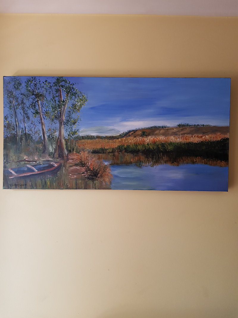 (CreativeWork) Jackson Creek - Sunbury Vic by Debra Vivarini. arcylic-painting. Shop online at Bluethumb.