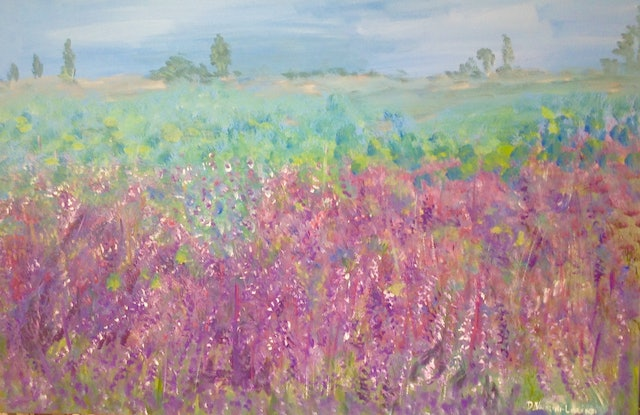 (CreativeWork) Lavender Fields by Debra Vivarini. Acrylic Paint. Shop online at Bluethumb.