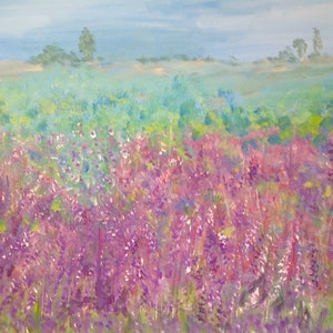 (CreativeWork) Lavender Fields by Debra Vivarini. arcylic-painting. Shop online at Bluethumb.