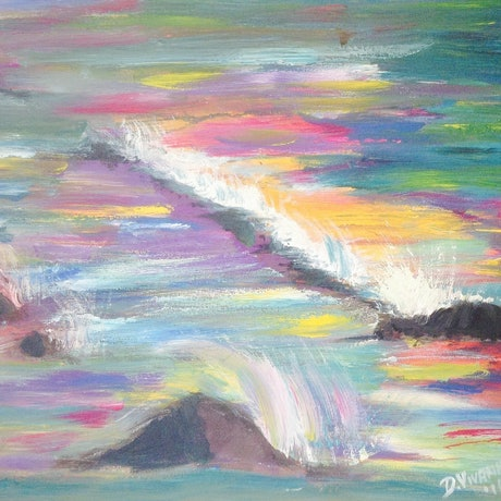 (CreativeWork) Ocean of Colour by Debra Vivarini. Acrylic Paint. Shop online at Bluethumb.