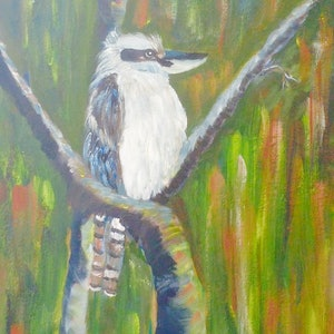 (CreativeWork) Kookaburra in Tree by Debra Vivarini. arcylic-painting. Shop online at Bluethumb.