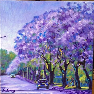 (CreativeWork) Jacarandas on Mary Street by Robyn Gray. arcylic-painting. Shop online at Bluethumb.