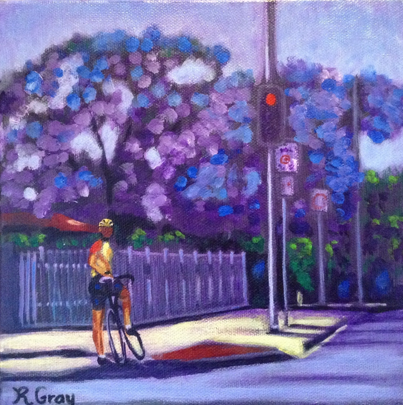 (CreativeWork) Jacaranda on West Street by Robyn Gray. arcylic-painting. Shop online at Bluethumb.