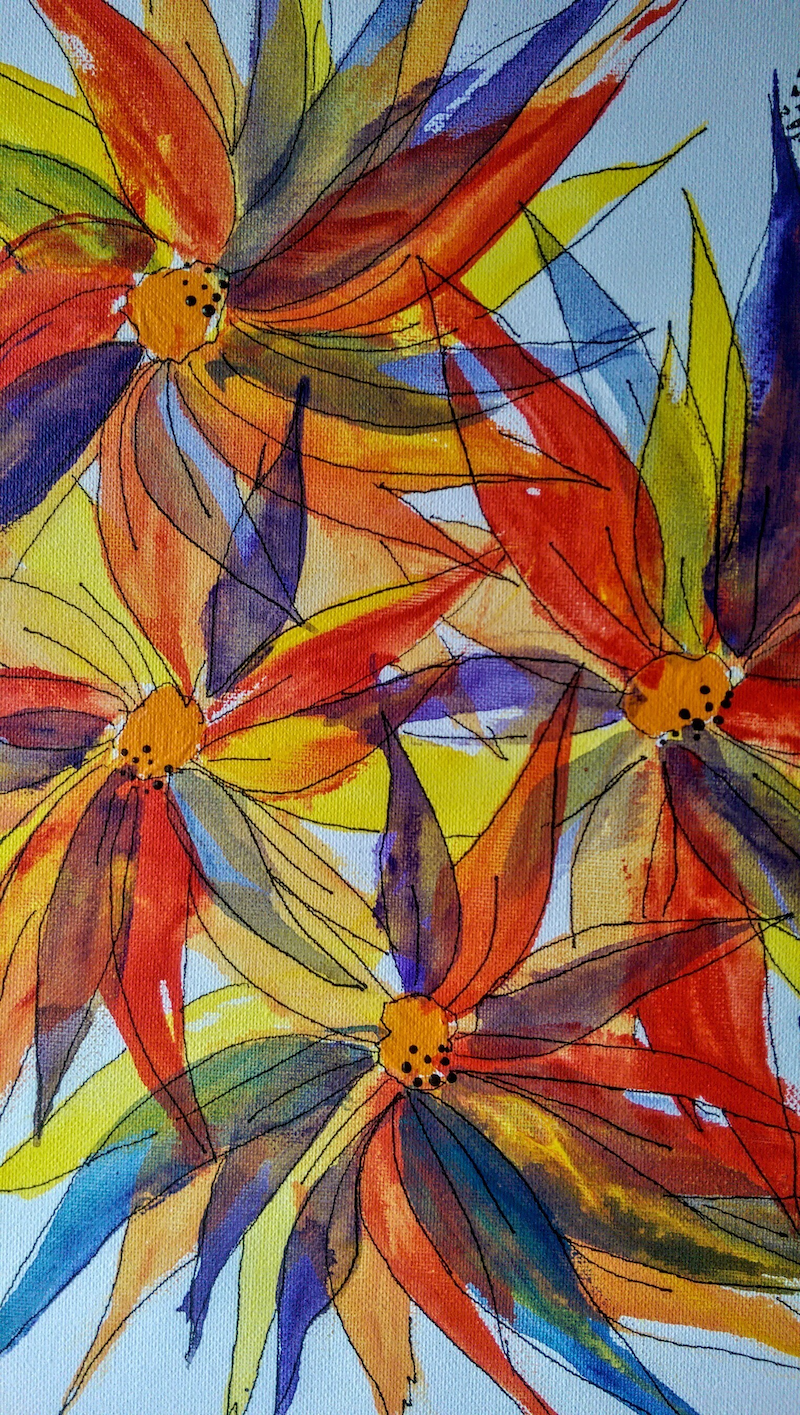(CreativeWork) Multi coloured flowers one by Meredith Dixon. arcylic-painting. Shop online at Bluethumb.