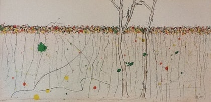 (CreativeWork) Winter Vines by June Orr. mixed-media. Shop online at Bluethumb.