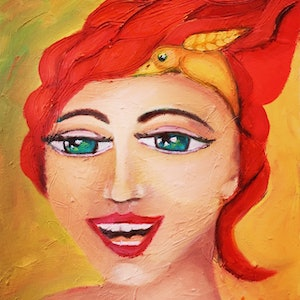 (CreativeWork) Happiness by Wendy Pepyat. oil-painting. Shop online at Bluethumb.