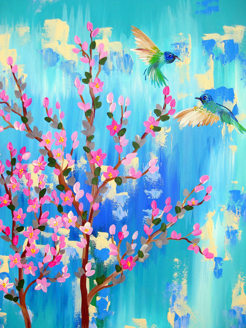 (CreativeWork) Hummingbirds by Cathy Jacobs. arcylic-painting. Shop online at Bluethumb.