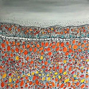 (CreativeWork) Four Fields by natalie green. acrylic-painting. Shop online at Bluethumb.