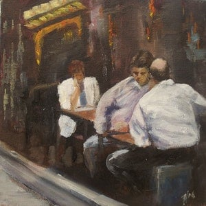 (CreativeWork) Degraves Street, Melbourne I by Hazell Ray-Billington. arcylic-painting. Shop online at Bluethumb.