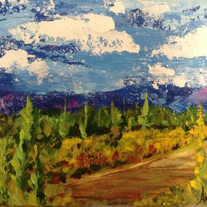 (CreativeWork) Country side by Adriana Nascimento. arcylic-painting. Shop online at Bluethumb.