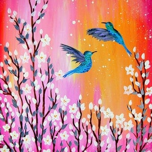 (CreativeWork) flying birds with blossom by Cathy Jacobs. arcylic-painting. Shop online at Bluethumb.