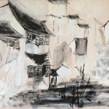 (CreativeWork) Rural village in China  by jin Jin. Acrylic Paint. Shop online at Bluethumb.