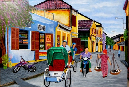 (CreativeWork) Hoi An Vietnam by Rick Lowe. arcylic-painting. Shop online at Bluethumb.
