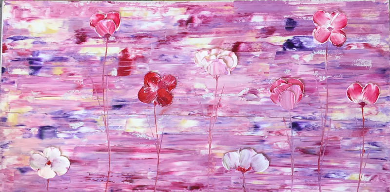 (CreativeWork) 50 SHADES OF PINK AND PURPLE  by Melak Khaleel. oil-painting. Shop online at Bluethumb.