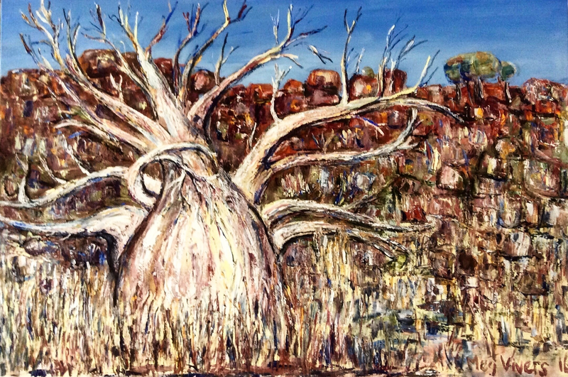 (CreativeWork) Giant Boab, Kimberley by Meg Vivers. oil-painting. Shop online at Bluethumb.