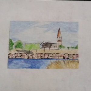 (CreativeWork) By the river by Karen Forrest. drawing. Shop online at Bluethumb.
