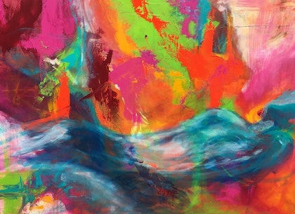 (CreativeWork) Immersed in Colour by monika alston. arcylic-painting. Shop online at Bluethumb.