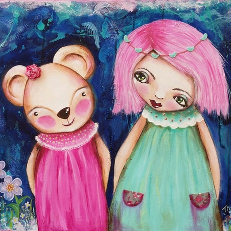 (CreativeWork) I'm Beside You.  (Beatrice @ Imogen) Textured. by Tiarni Badger. Mixed Media. Shop online at Bluethumb.