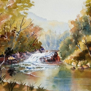 (CreativeWork) The Headwaters (2) by Lorelle Boyce. watercolour. Shop online at Bluethumb.