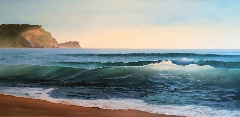 (CreativeWork) Early Morning Light, Avoca, NSW by Camelle Denny. oil-painting. Shop online at Bluethumb.