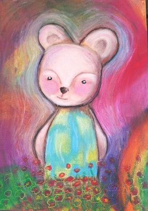 (CreativeWork) Beatrice bear .. oil pastels by Tiarni Badger. #<Filter:0x00007fd878e82698>. Shop online at Bluethumb.