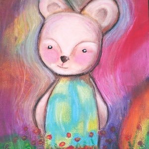 (CreativeWork) Beatrice bear .. oil pastels by Tiarni Badger. other-media. Shop online at Bluethumb.