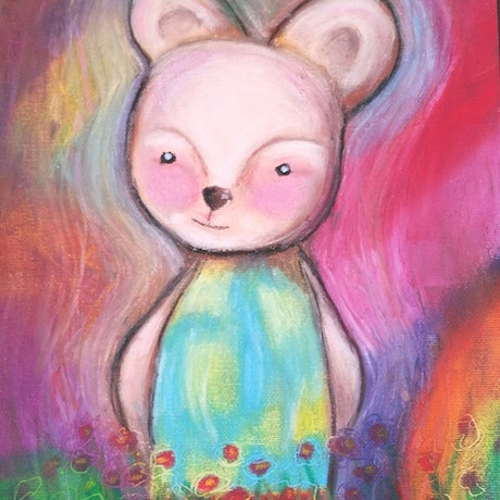 (CreativeWork) Beatrice bear .. oil pastels by Tiarni Badger. Other Media. Shop online at Bluethumb.