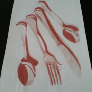(CreativeWork) Cutlery by Karen Forrest. drawing. Shop online at Bluethumb.