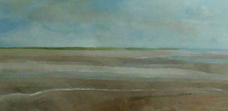 (CreativeWork) Rivermouth at low tide - a very large significant painting  by John Graham. oil-painting. Shop online at Bluethumb.